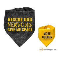 Rescue Dog Nervous Give Me Space, Rescue Dog Yellow Bandana, Rescue Dog Bandana, Yellow Nervous Dog Bandana