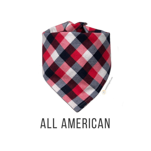 Red White Blue Buffalo Plaid Flannel Dog Bandana, Patriotic Plaid Flannel Dog Bandana, Winter Dog Bandana