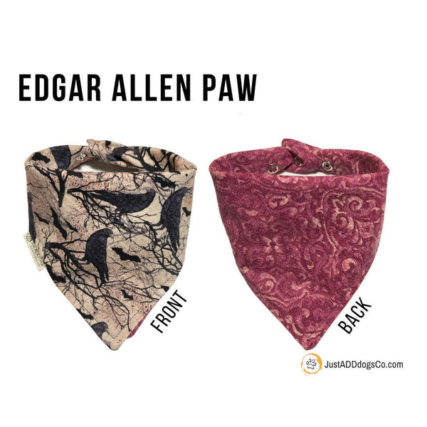 Edgar Allan Poe The Raven Dog Bandana, Black Crow Dog Bandana, The Raven Dog Bandana, Halloween Dog Bandana