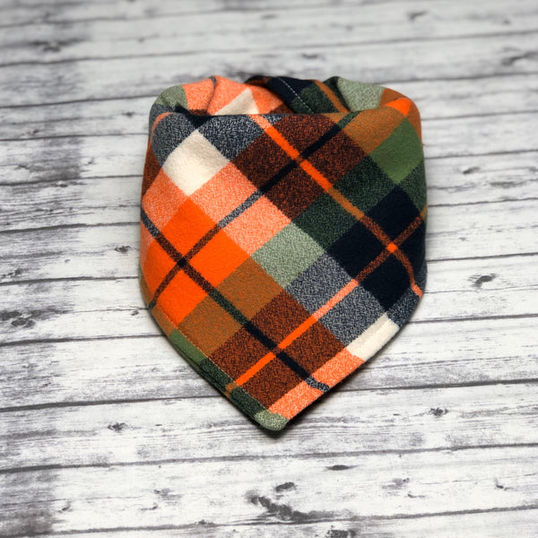 Orange Blue Green Tartan Plaid Flannel Dog Bandana, Plaid Dog Bandana, Fall Dog Bandana, Winter Dog Bandana