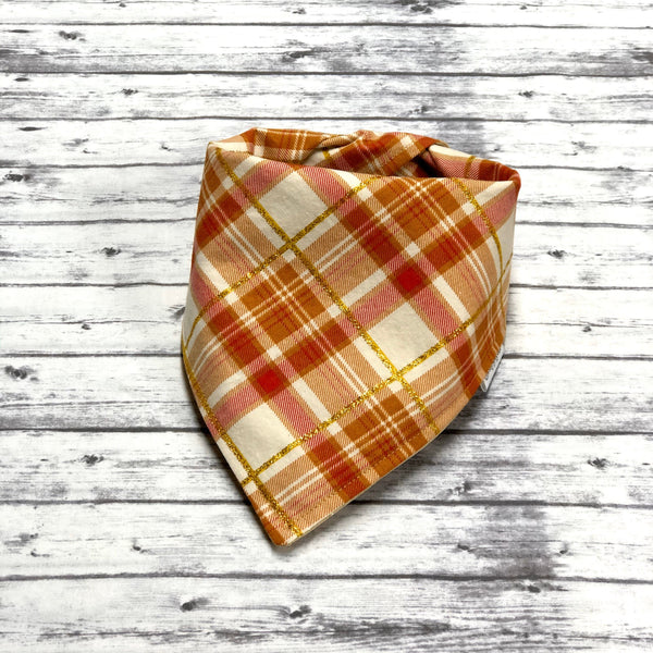 Orange and Gold Tartan Plaid Dog Bandana, Fall Plaid Dog Bandana, Fall Dog Bandana
