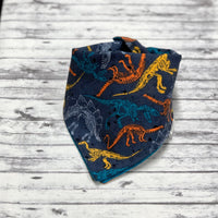 Dinosaur Dog Bandana, Teal, Yellow, Orange and Grey Dinosaur Dog Bandana