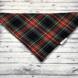 Black Scottish Plaid Flannel Dog Bandana, Scottish Plaid Dog Bandana, Plaid Dog Bandana, Christmas Dog Bandana, Winter Dog Bandana