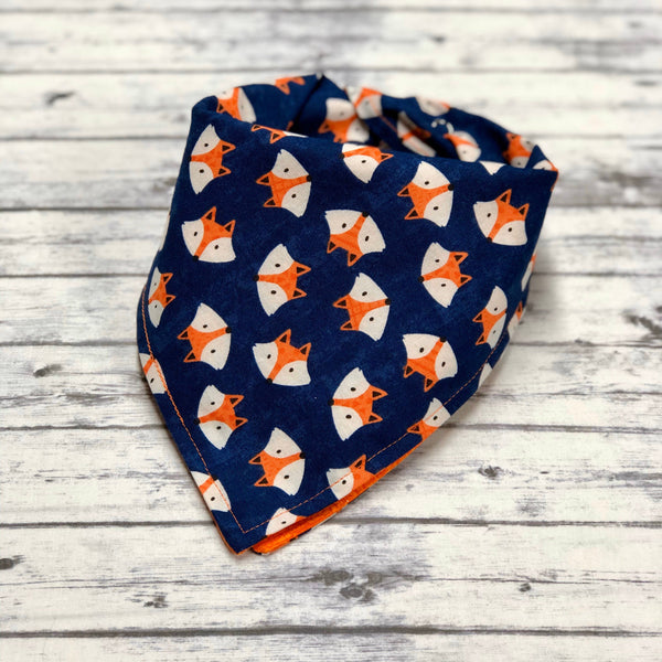 Fox Dog Bandana, Foxes Dog Bandana, Geometric Fox Face Bandana, Orange and Blue Dog Bandana, Woodland Fox, Animal Print Dog Bandana