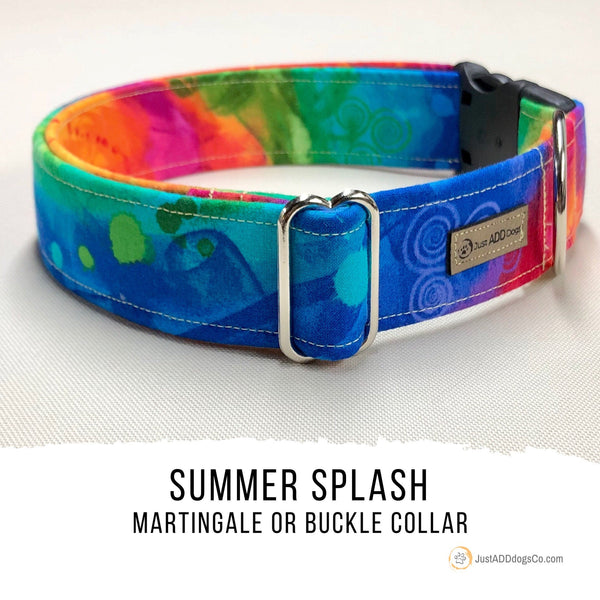 Summer Splash Rainbow Martingale Dog Collar, LBGTQ Pride Dog Collar, Summer Dog Collar, Gay Pride Dog Collar