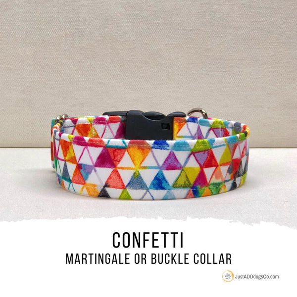 Geometric Watercolor Martingale Dog Collar, Summer Dog Collar