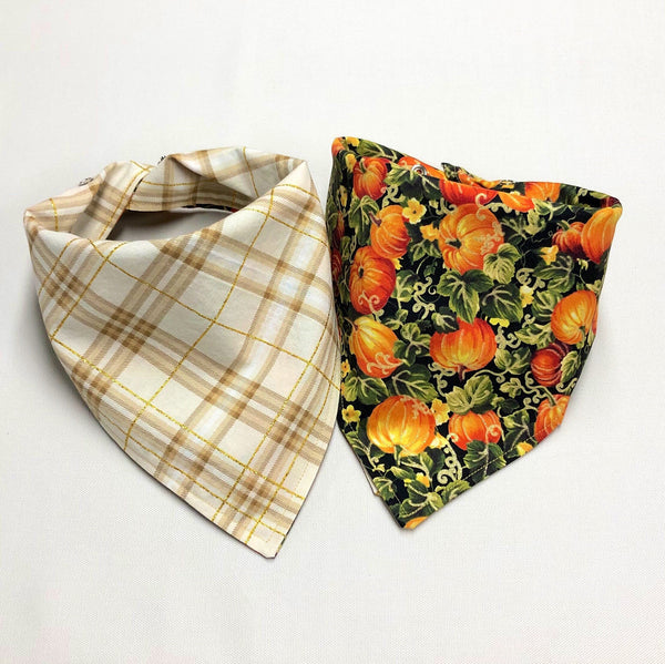 Pumpkin Dog Bandana, Metallic Pumpkin Patch Dog Bandana, Fall Dog Bandana