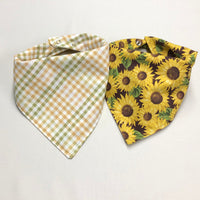 Sunflower Dog Bandana, Plaid Fall Dog Bandana, Reversible Snap-On Dog Bandana