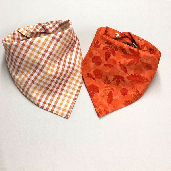 Orange Plaid Fall Dog Bandana, Orange and Gold Fall Leaves Dog Bandana
