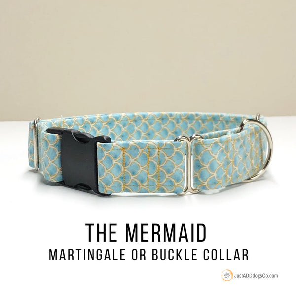 Blue and Gold Mermaid Dog Collar, Martingale Dog Collar, Buckle Dog Collar