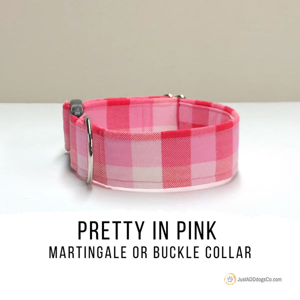 Pink Buffalo Plaid Martingale Dog Collar, Martingale Buckle Dog Collar