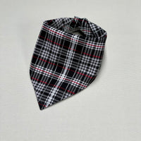 Silver and Black Plaid Dog Bandana, Scotty Dog Bandana, Plaid Dog Bandana, Red, Black, Silver Plaid Bandana, Reversible Snap On Dog Bandana