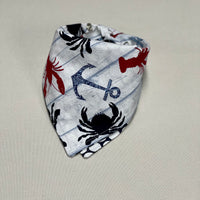 Crab Dog Bandana, Lobster Dog Bandana, Nautical Dog Bandana, Anchor Dog Bandana, Beach Bandana,  Nantucket Bandana, Red White Blue