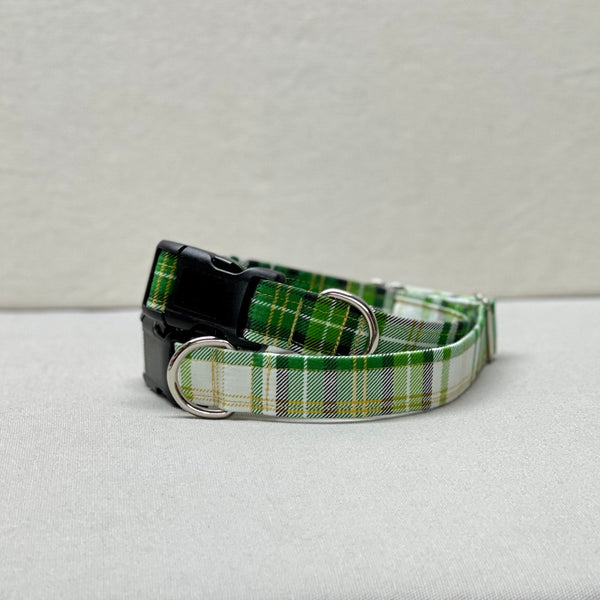 Green White Gold Plaid St. Patty's Day Dog Collar, Side-Release Buckle Dog Collar, Martingale with Buckle Collar