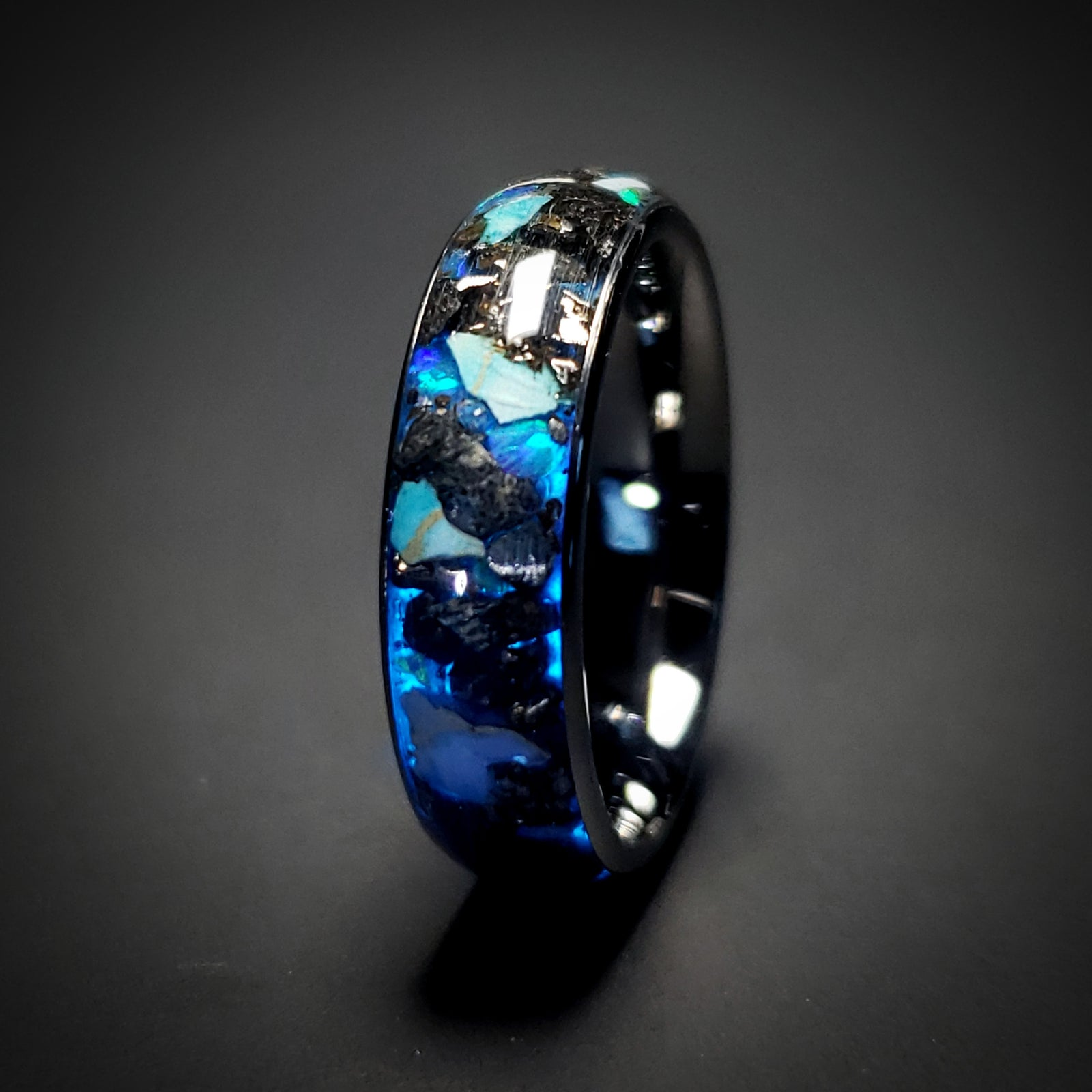 custom opal ring Womens ring or mens ring Black ceramic ring Black Fire Opal ring Artisan jewellery perfect for any occasion
