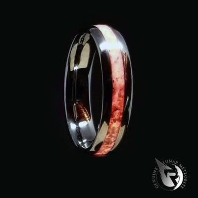 White & Red Mammoth Fossil Glow Wedding Bands