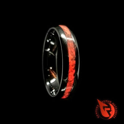 Red Mammoth Fossil Glow Wedding Bands