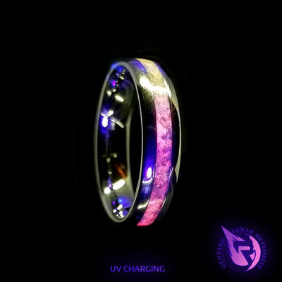 Mammoth Fossil UV Glow Wedding Bands