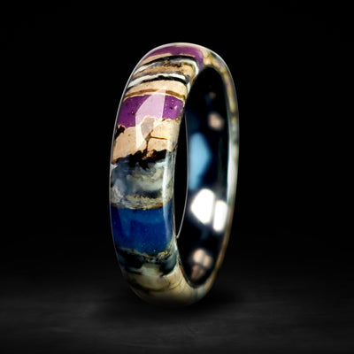 Solid Mammoth Tooth 6mm Purple Glow Ring