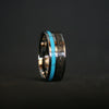 Turquoise Rex - 8mm Flat T-Rex Fossil & Turquoise Ring