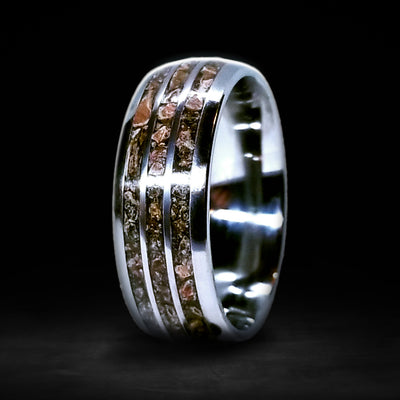 Cera - 3 Channel 8mm Triceratops Fossil Ring
