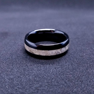 White Dinosaur Fossil Wedding Band