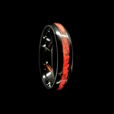 White & Red Mammoth Tusk Glow Wedding Bands