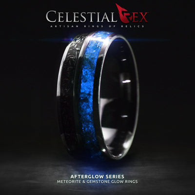 Afterglow Series Campo Del Cielo Meteorite Blue Glow Ring