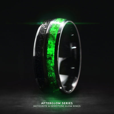 Afterglow Series Campo Del Cielo Meteorite Green Glow Ring