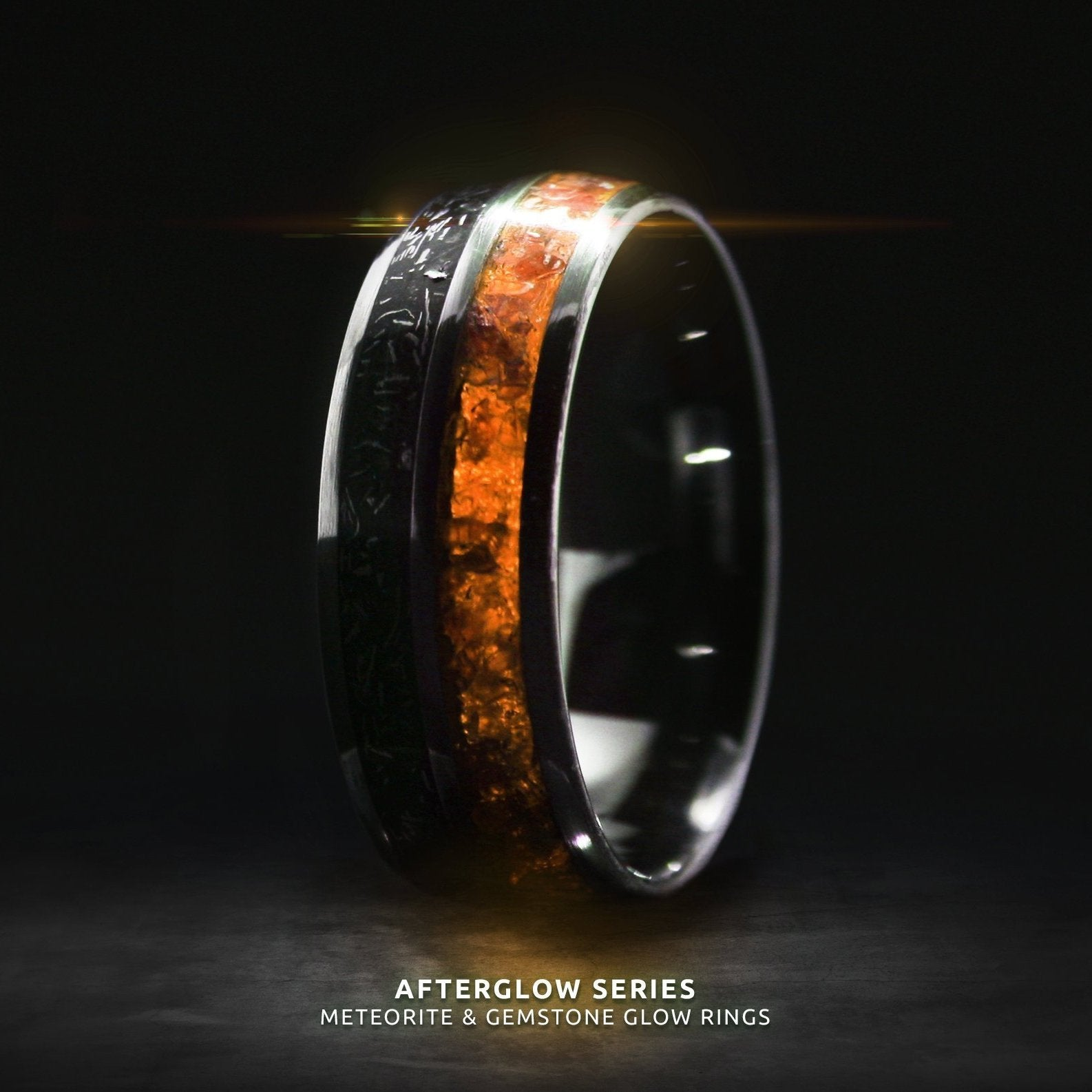 Afterglow Series Campo Del Cielo Meteorite Orange Glow Ring