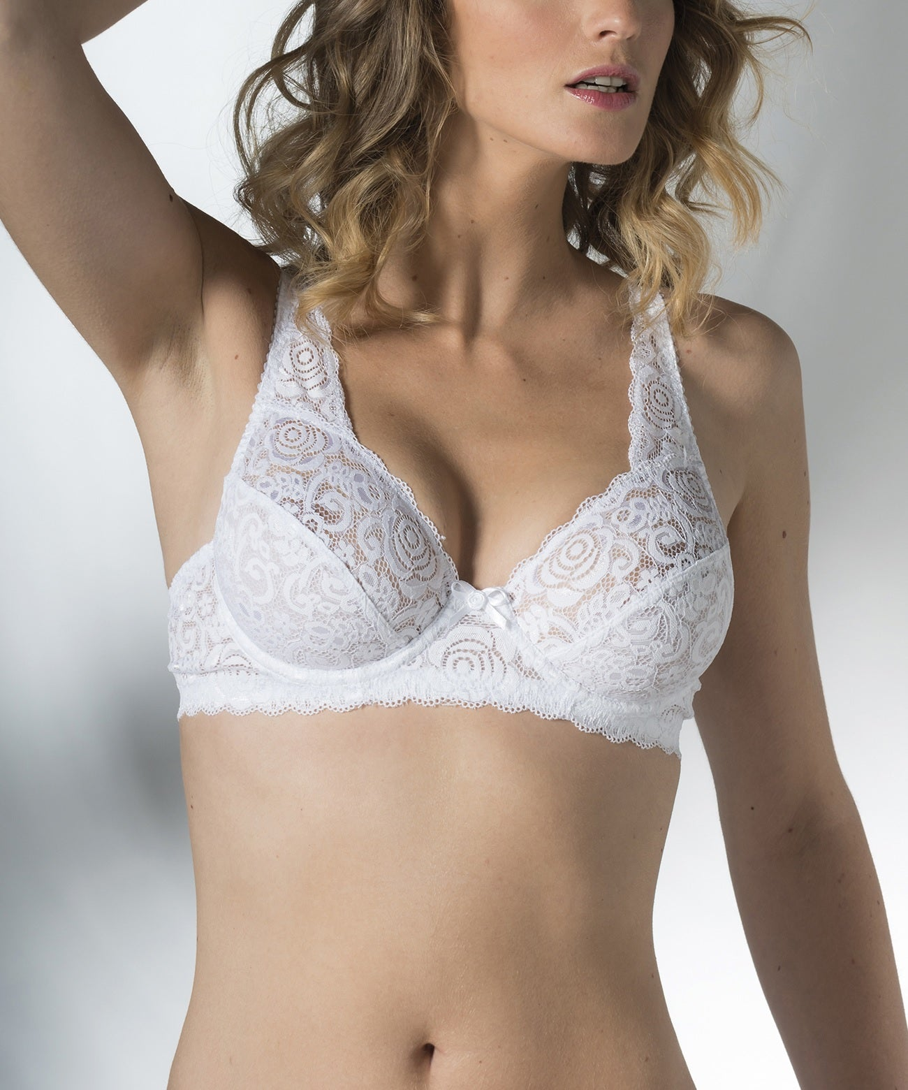 White Allover lace Soft Cup Bra 87103