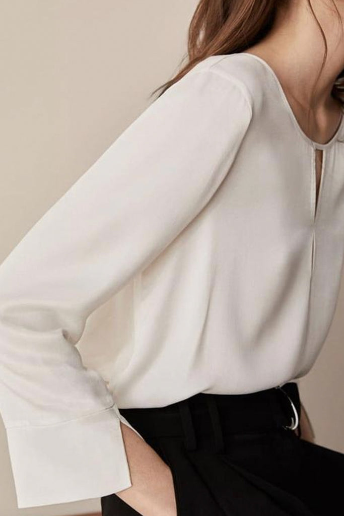 Embellished Long Sleeve Top With Cuff Details - Vanilla