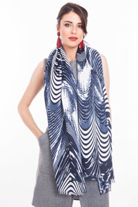 LONG PRINTED SCARF GEO-BLUE