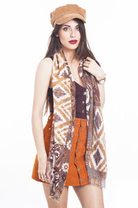 LONG PRINTED SCARF HIPPY-BROWN