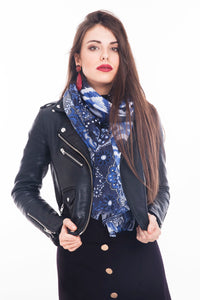 LONG PRINTED SCARF HIPPY-BLUE