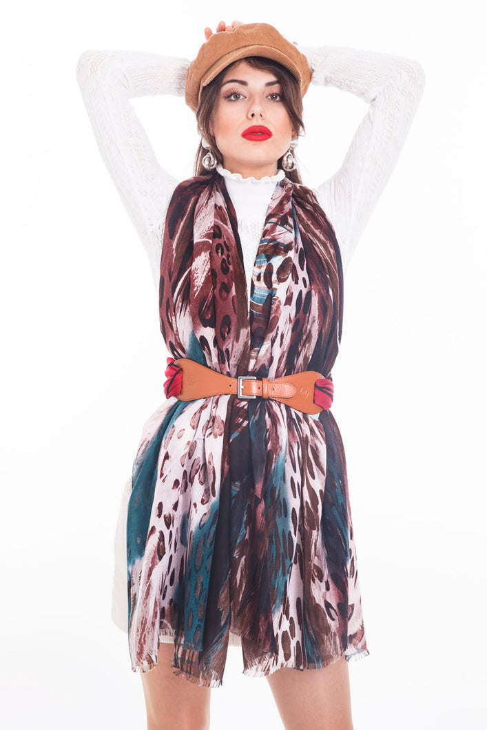 LONG PRINTED SCARF ANIMAL-BROWN