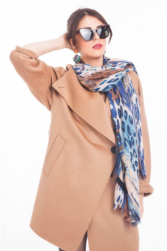 LONG PRINTED SCARF ANIMAL-BLUE