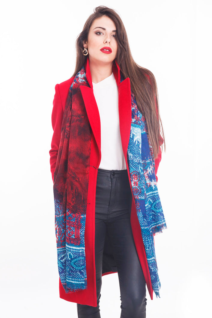 LONG PRINTED SCARF TAJ-RED