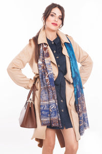 LONG PRINTED SCARF TAJ-BLUE