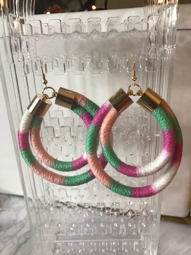 Pink and Green Multicolored Double Rope Earrings