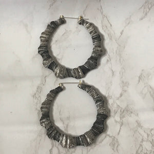 Silver Metallic Bamboo Earrings