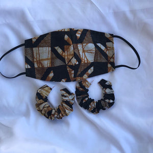 Black and Gold African Print Mask and Scrunchie Earrings