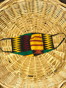 Red, Yellow, Green, and Black African Print Mask