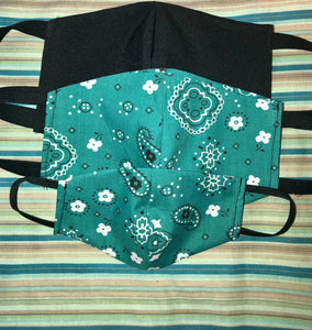 Teal Bandanna Mask