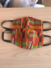 Load image into Gallery viewer, Orange Traditional Kente Mask