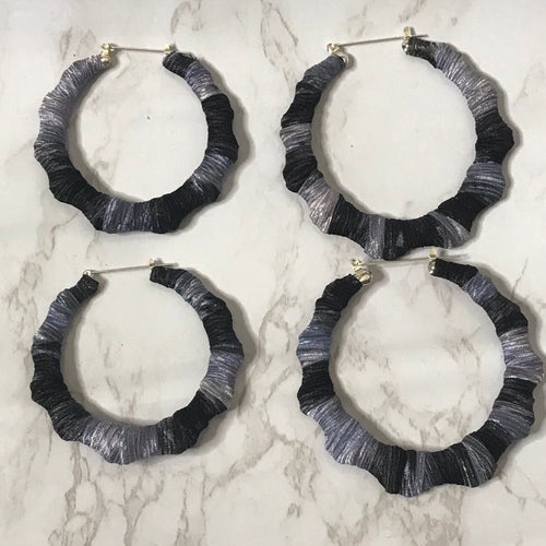 Black and Grey Multicolored Bamboo Earrings