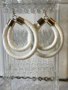 White Double Rope Earrings