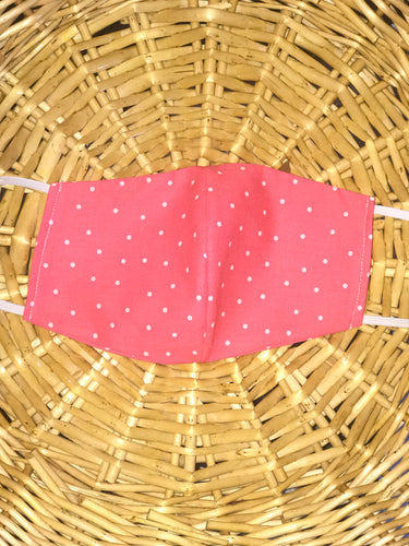 Pink and White Polka Dot Mask