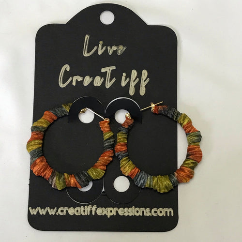 Orange and Green Multicolored Bamboo Earrings