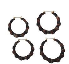 Load image into Gallery viewer, Black and Brown Multicolored Bamboo Earrings